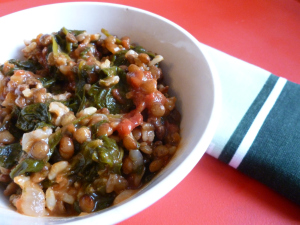 Spinach, lentils & rice… but she runs like a champ