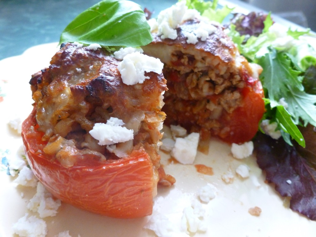 savory stuffed garden tomato