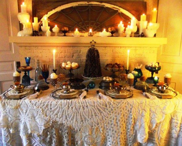wintery vintage dessert table dressing