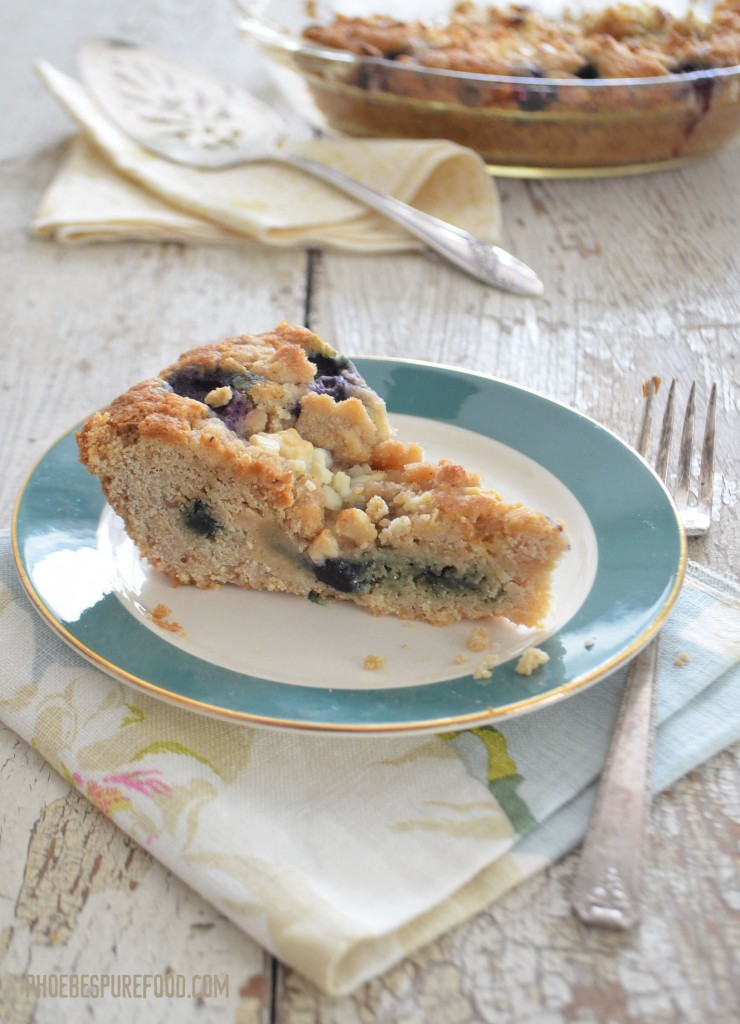 blueberry crumb cake recipe, orange tea infused {gf, vegan}
