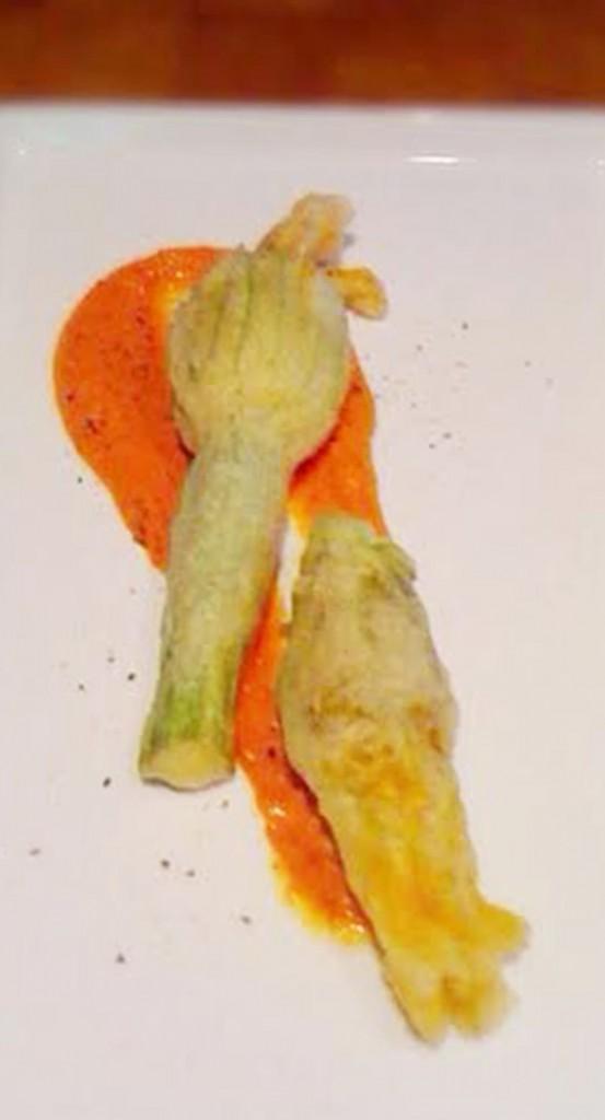 mushroom stuffed 'tempura-fried' zucchini blossoms