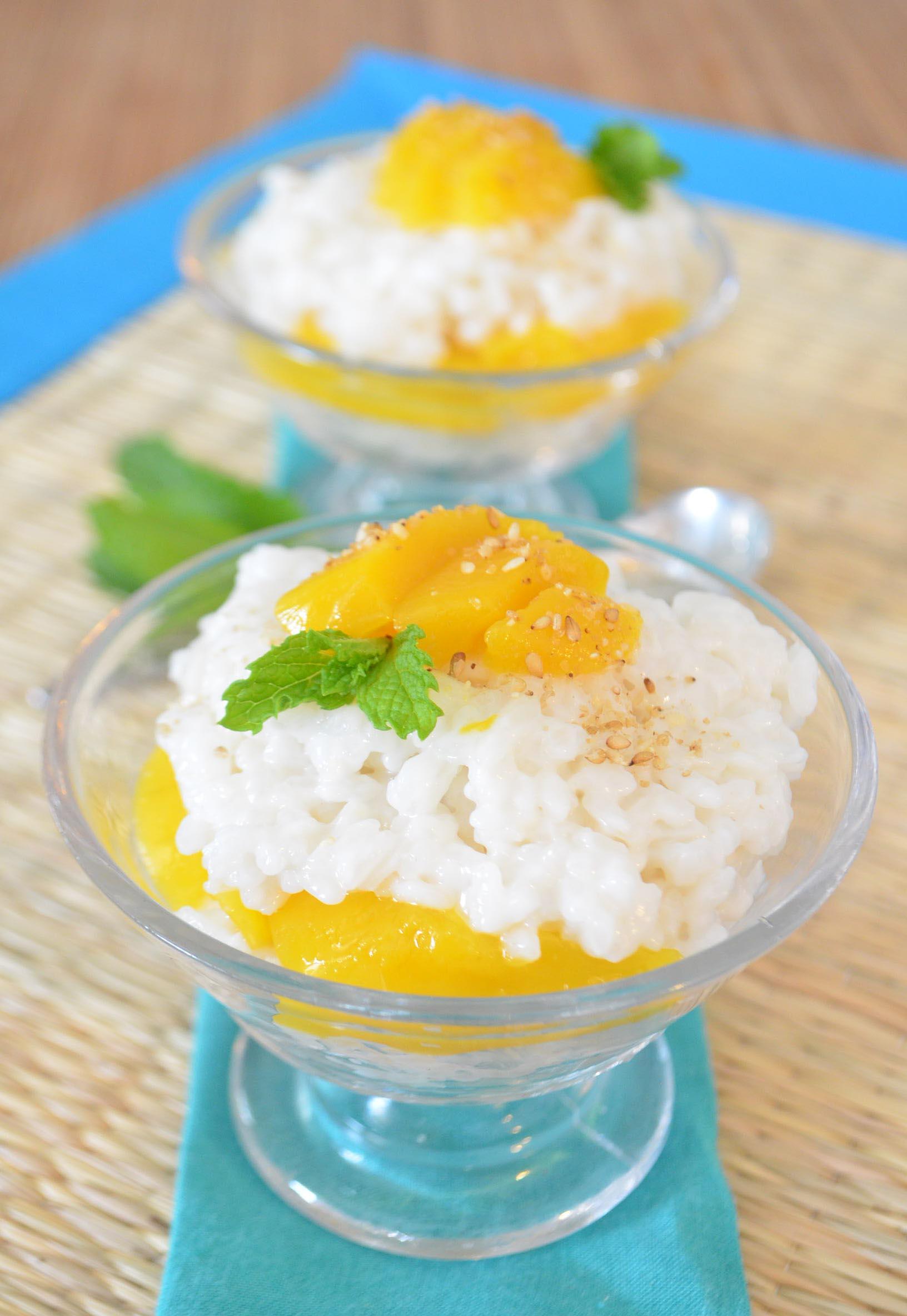 coconut mango sticky rice, vegan - phoebe's pure food