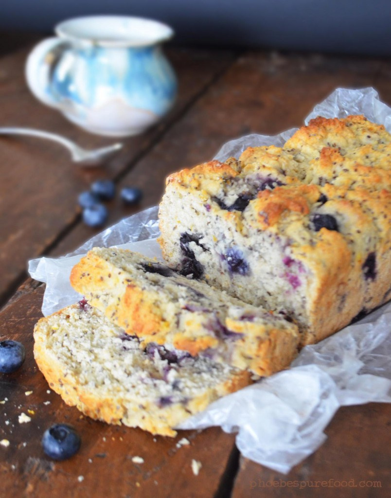 vegan blueberry chia quick bread