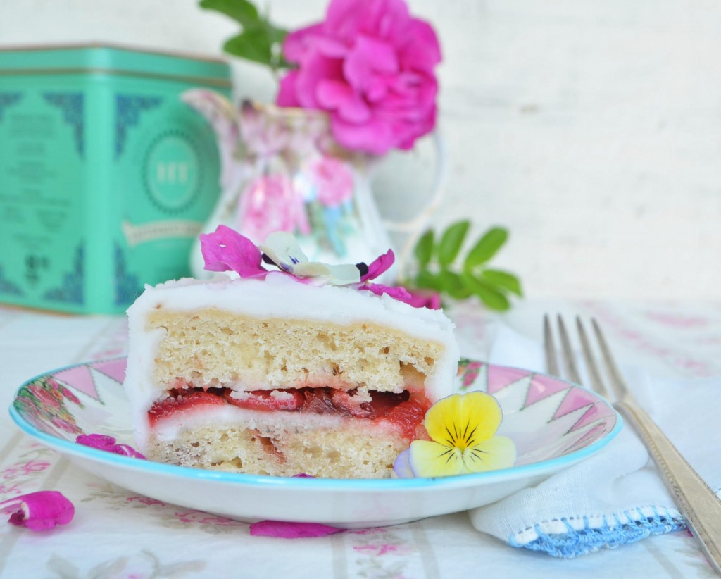 rhubard flower cake phoebes pure food