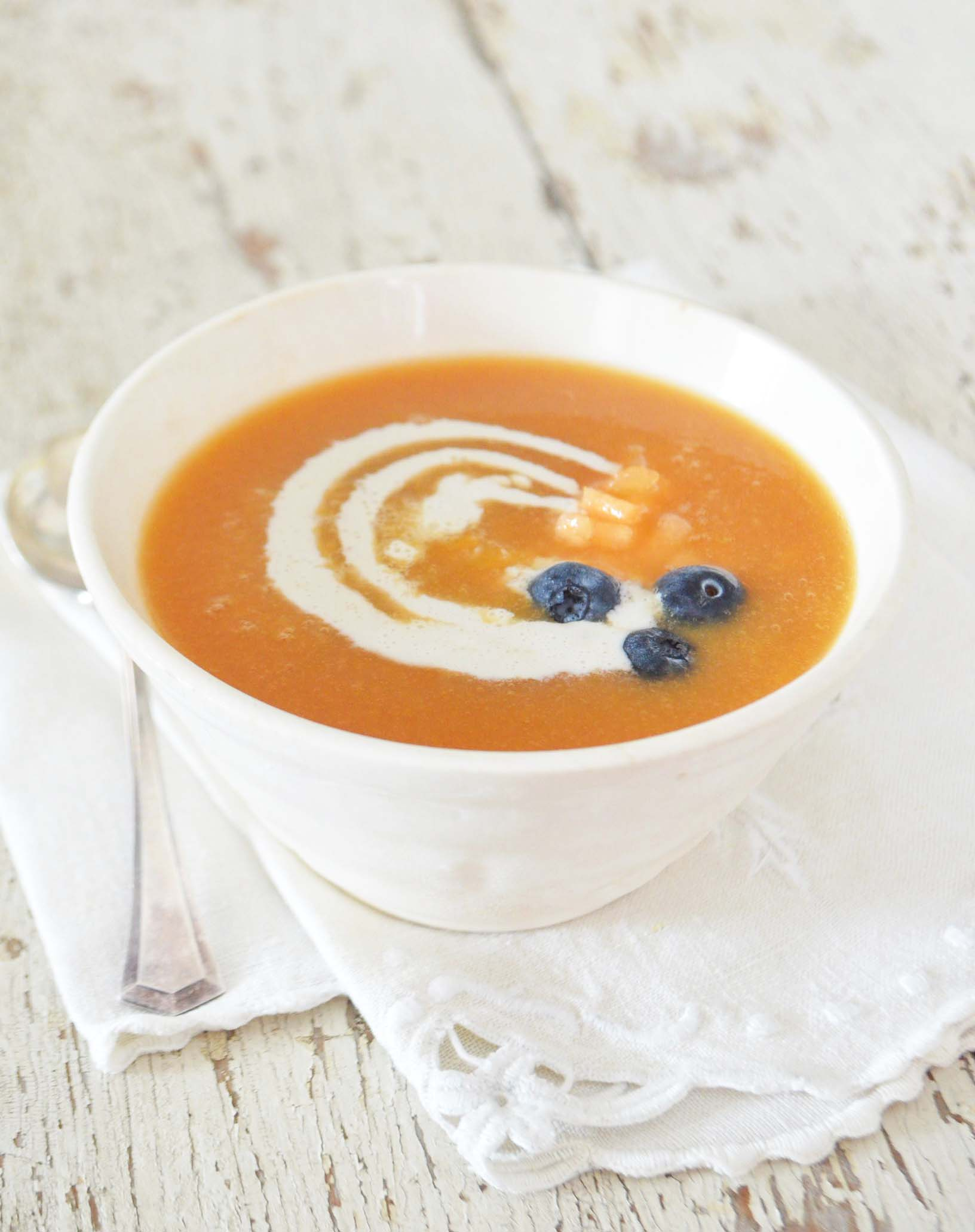 Vegan Chilled Cantaloupe Soup Phoebe S Pure Food Lemon juice 1 1/2 c. chilled cantaloupe soup