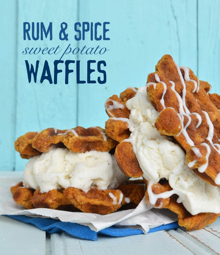 rum and spice sweet potato waffles