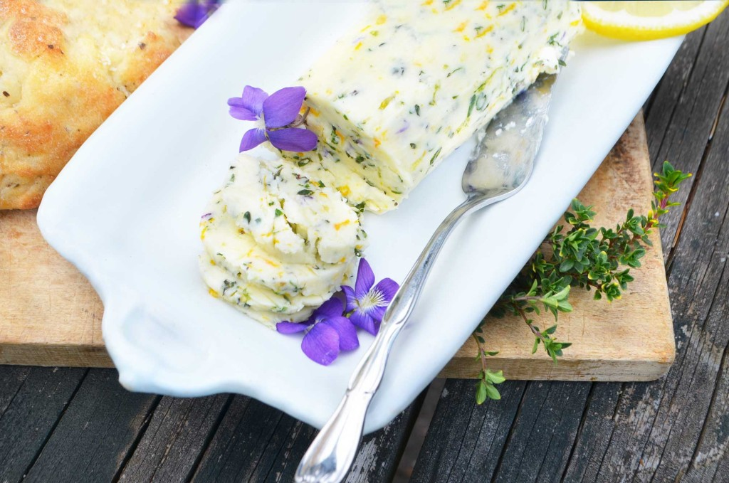 savory violet compound butter