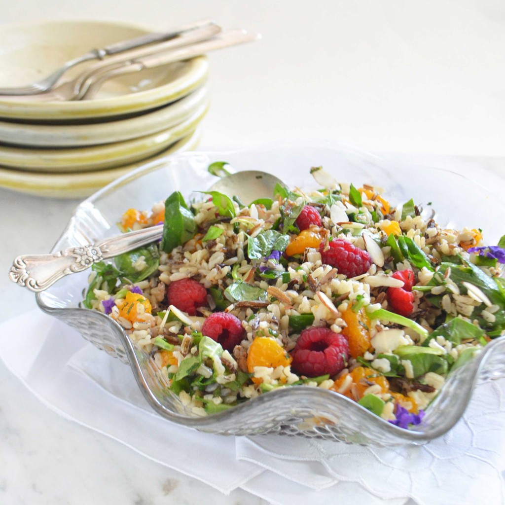 raspberry citrus wild rice salad