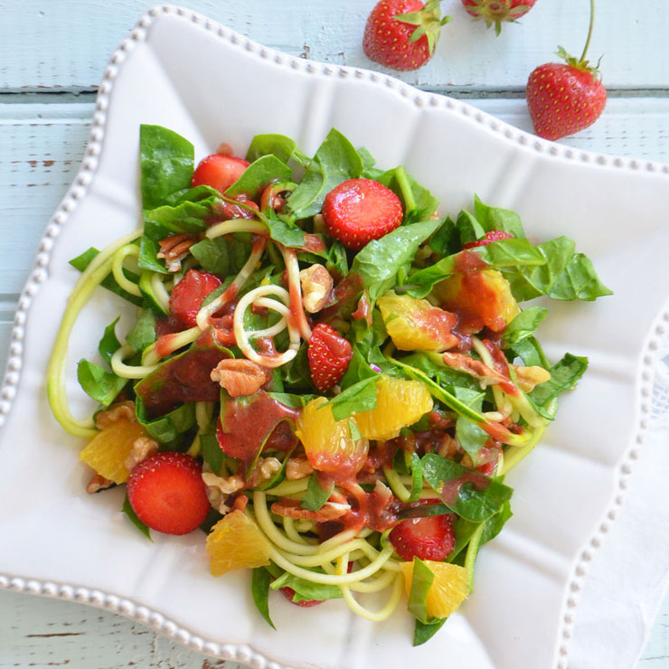 spiralized strawberry salad