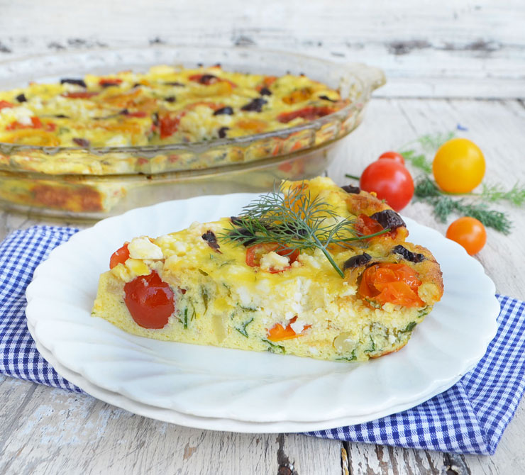 tomato feta crustless quiche