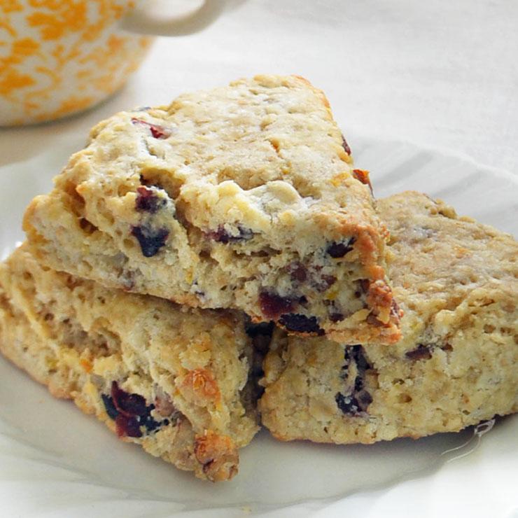 cranberry pecan oat scones